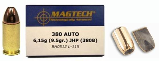 Magtech 9mm Browing 380 Auto (380B) JHP 95gr